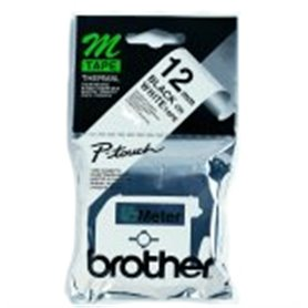 Brother Labelling Tape - 12mm, Black/White, Blister label-making tape